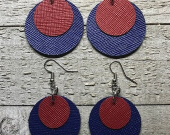Leather earrings, Mother and daughter earrings, Leather, Earrings, Jewelry, Leather jewelry, Lightweight earrings, Red and blue earrings