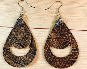 Leather earrings cow leather stainless hooks lightweight
