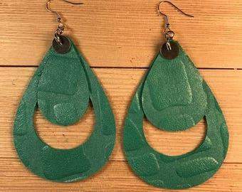Leather earrings, Turquoise earrings, Teardrop earrings, Bold earrings, Drop Earrings