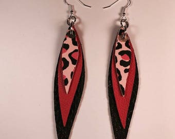 Leather earrings, Teardrop earrings, Drop earrings, Statement earrings, Bold earrings