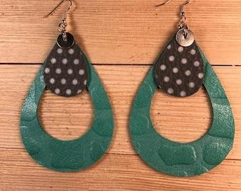 Leather earrings, Teardrop earrings, Bold earrings, Large earrings, Lightweight earrings, Earrings,