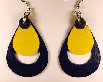 Leather earrings, Teardrop earrings, Drop earrings, Bold earrings