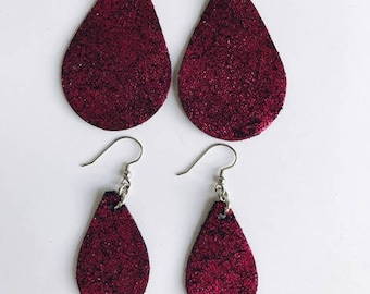 Magenta leather earrings, Mother and daughter earrings, Leather earrings, Shiny earrings, Teardrop earrings