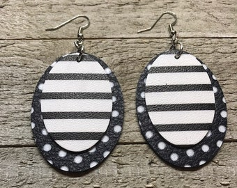 Leather earrings, Leather, Oval earrings, Bold earrings, Drop earrings, Lightweight earrings, Black and white earrings,