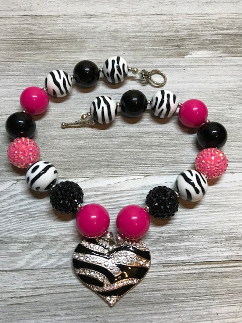 Girl/'s necklace Necklace Bubble bead necklace Acrylic beads Chunky beads Kid/'s jewelry Black and pink beads Child/'s necklace Jewelry
