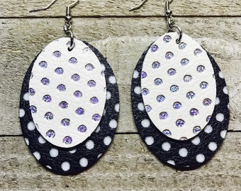 Leather earrings, Earrings, Oval earrings, Leather, Bold earrings, Drop earrings, Lightweight earrings, Black and white earrings
