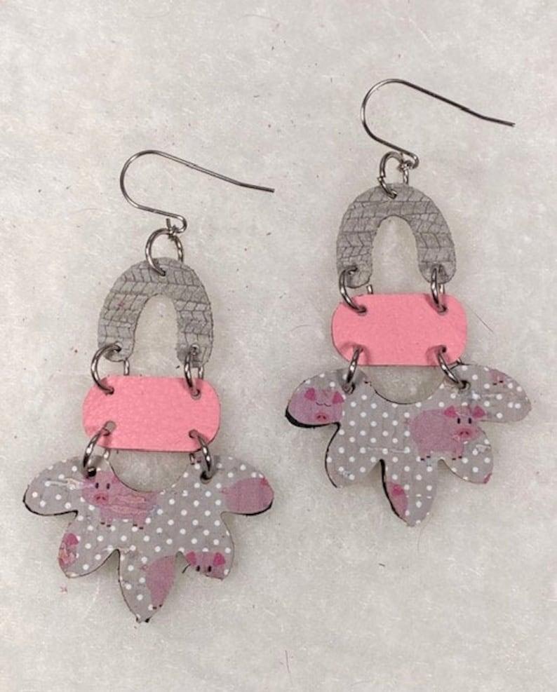 Mother/'s Day gift Gray and pink earrings Ear wires Farmer/'s wife earrings Drop earrings Leather earrings Cork earrings Pig earrings