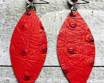 Leather earrings, Leather, Earrings, Red earrings, Ostrich embossed earrings, Statement earrings, Drop earrings, Lightweight earrings, Bold