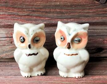 Ceramic Shawnee Winking Owls Salt and Pepper Shakers