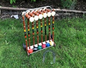 Vintage Croquet Set Forster Wood Six Rolling Rack Caddy 2 Goal Stakes, Mallets, 8 Wickets 3 quot Balls Black, Green, Red, Yellow, Orange, Blue
