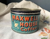 Vintage Coffee Can Maxwell House Teal Aqua Blue Empty with Lid 1 Pound Drip Grind Advertising Litho Tin Key Open Vacuum Packed 1lb Java
