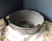 Vintage Preserving Kettle Rare Grey Mottled Speckled Graniteware Round Lipped Cook Pot Wood Bail Handle Pour Spout Tip Handle - Stew Soup
