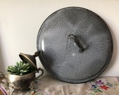 Vintage Pot Lid Grey Mottled Speckled Graniteware Round Dome Shaped Cover with Handle - Stew, Chili, Soup Food Warmer Decorative Shelf