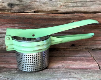 Green Potato Masher, Ricer, Fruit Press, Baby Food Strainer with Perfect Patina