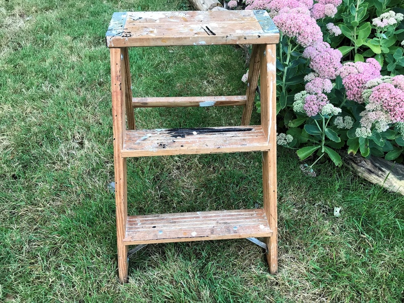 Two Step Werner Wood A Frame Ladder with Straight Rung Back Home Decor Garden