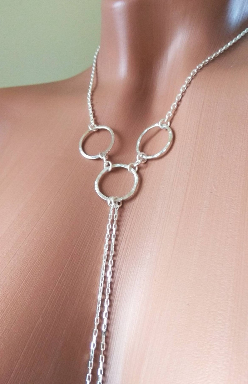 O ring Sterling silver Necklace With Dangling silver Chains and fake nipple piercing