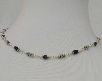 Mother Day, Women's Necklace, Red Garnet Necklace, Sterling Silver Necklace, Wrapped Wire, January Birthstone