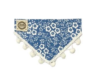 Floral dog bandana, cat bandana, slide on the collar bandana with pom pom trim