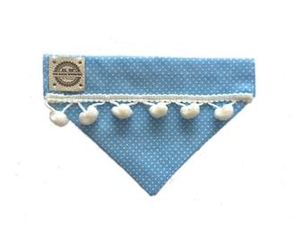 Handmade Baby Blue Polka Dot Pom Pom Dog / Cat Bandana