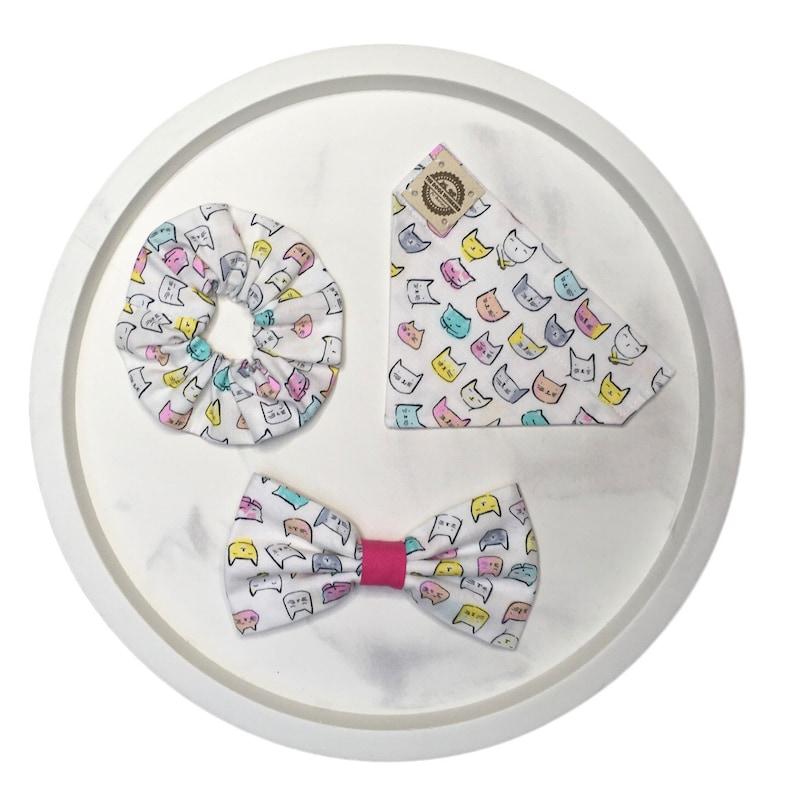 Geometric floral Matching DogCat Bandana Bow Tie /& Scrunchie Set