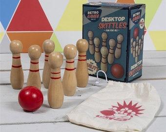 Skittles game presentation box PERSONALISED ENGRAVED plate ten pin bowling CUFFLINKS birthday gift 105