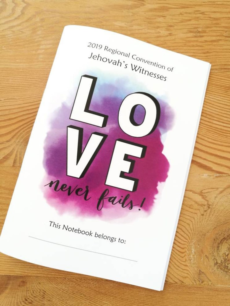 2019 Regional Convention Notebook  Love never fails! Digital Download  JW  Convention 2019  Jw Gift