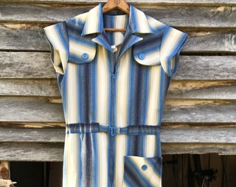 Incredible 70's Ombre Striped Bellbottom Jumpsuit! S/M