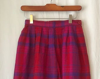 a5c6b5e17 Vtg Miss Pendleton high waisted white label wool plaid skirt, sz 8,  pink/red/purple plaid