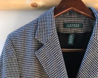 vintage Ralph Lauren wool houndstooth blazer, 12