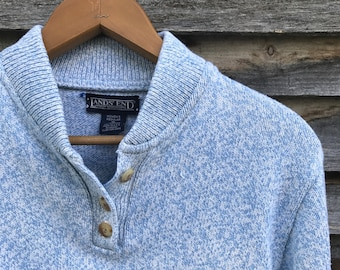 e8b01aee54 Lands  End heathered blue cotton henley sweater
