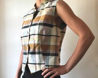 DonCaster plaid silk vest, 10/S