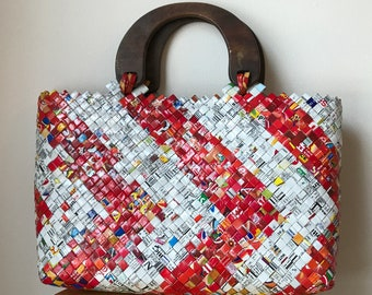 vintage upcycled woven purse with wooden handles, made from chip bags!