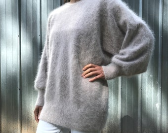 Luxurious beige mohair/angora sweater by GIZEL Original, dolman sleeves, S/M/L