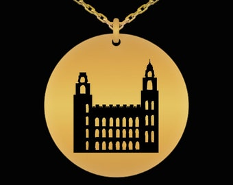 92161052949 Manti temple, laser engraved gold or silver color necklace