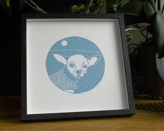 Chihuahua - print - linocut