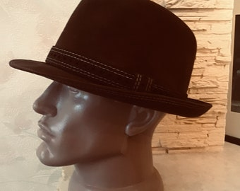 c5bb0647ffc87 Vintage Chocolate German Trilby Hat. from wool felt velor