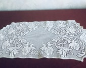 Vintage White Cotton Floral Lace Tablecloth Tablecloth Crocheted Table Cloth