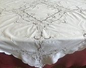 Vintage cotton lace embroidered tablecloth handmade. Table decoration embroidery madeira