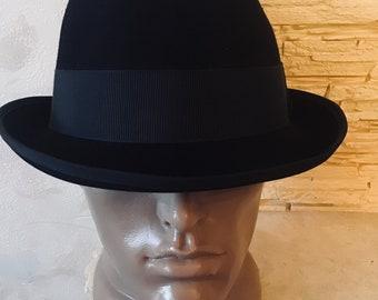 09d56e4e09f Vintage Dark Blue Men s Felt Velor Hat with Small Brim