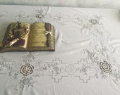 Vintage Cream Tablecloth with Madeira Embroidery and Lace Medallions