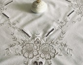 Vintage White Cotton Embroidered Tablecloth Madeira Embroidery Table Decoration Living Room Decor