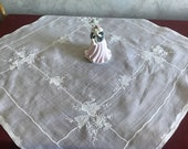 Vintage cambric white tablecloth with embroidered Madeira Decor for table decoration