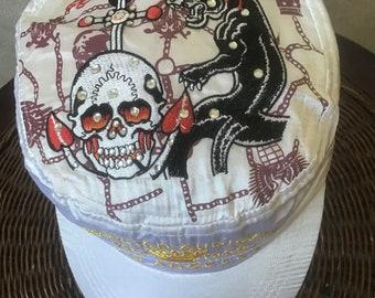556a1bb00177f White satin embroidered silk summer cap Kristian Audiegier with a skull.  famous designer original. Rocker Cap Punk Rock Street Style