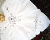 Vintage tablecloth with Madeira embroidery. An antique tablecloth with beige embroidery. Mother 39 s Day Gift
