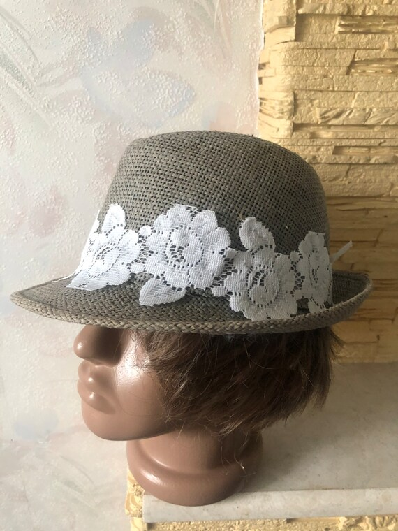 Ladies summer straw trilby hat with lace 57cm - image 8