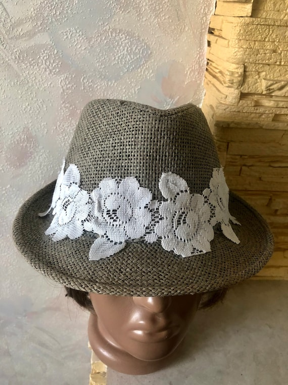 Ladies summer straw trilby hat with lace 57cm - image 1