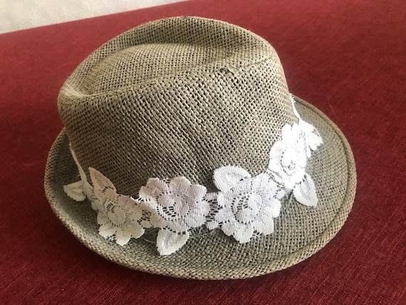 Ladies summer straw trilby hat with lace 57cm - image 4