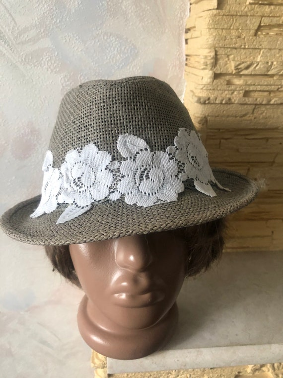 Ladies summer straw trilby hat with lace 57cm - image 2