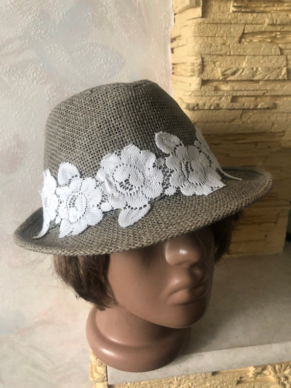 Ladies summer straw trilby hat with lace 57cm - image 6