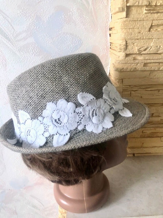 Ladies summer straw trilby hat with lace 57cm - image 10